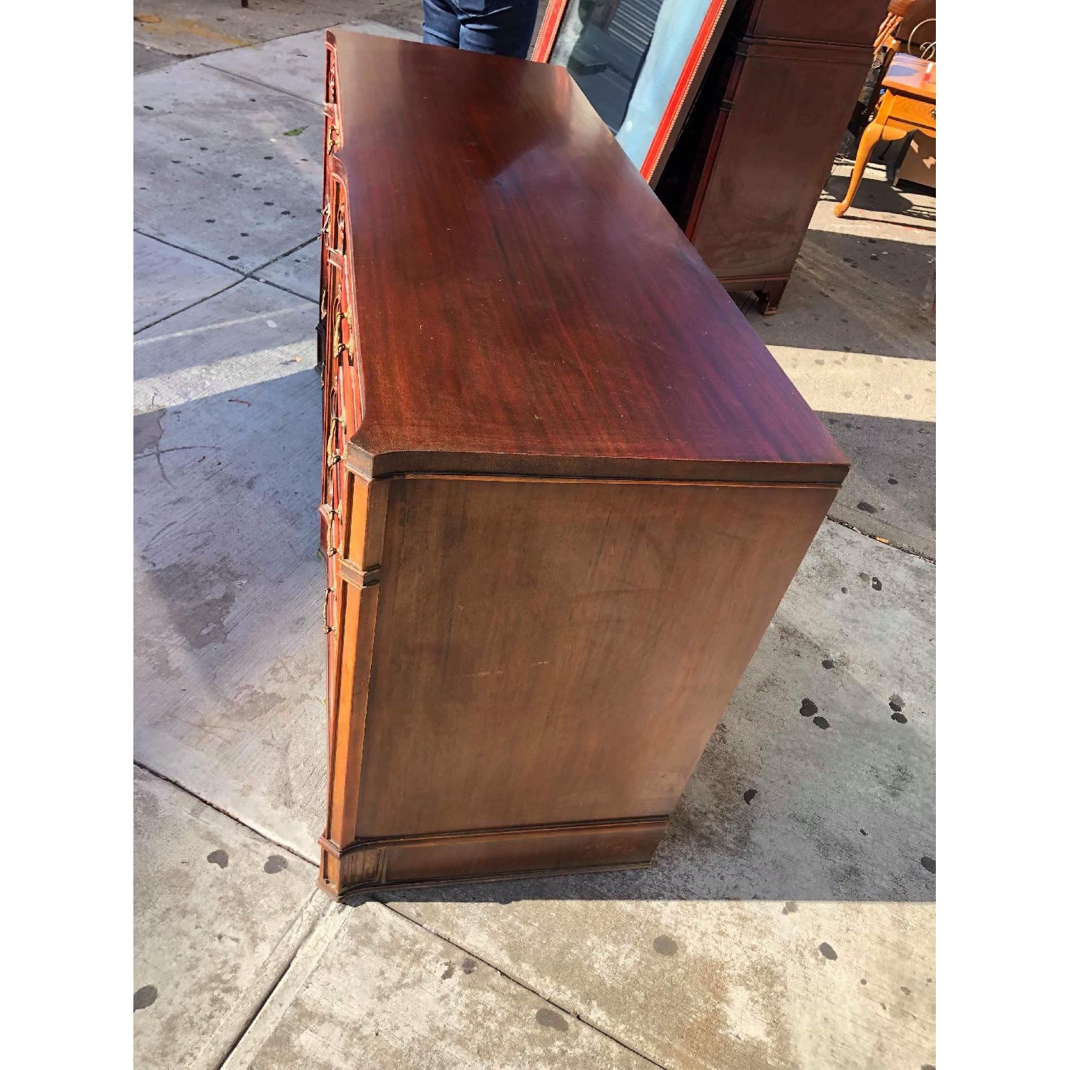 Antique 1930s Cherry Wood Leather Front 8 Drawer Dresser - image-3