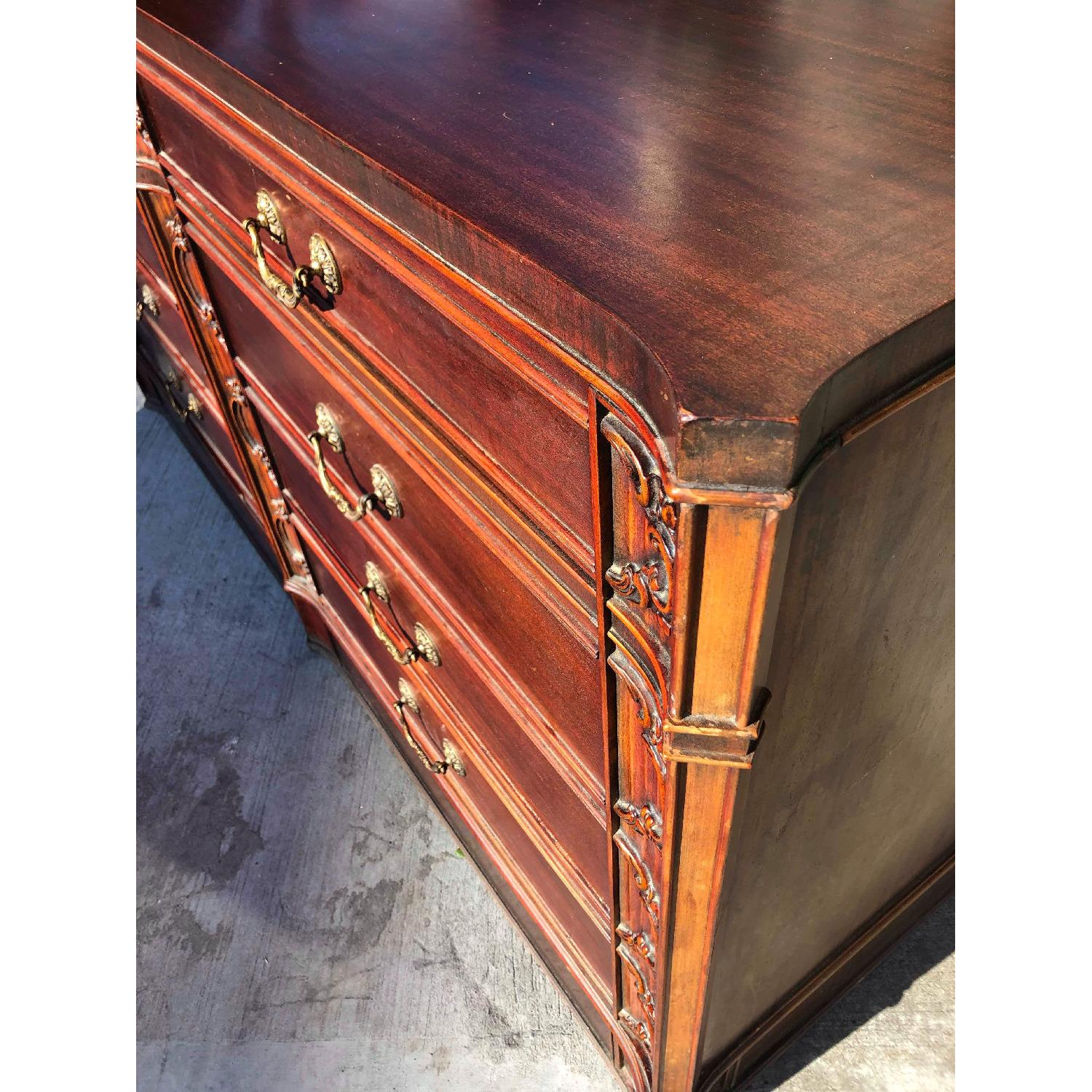 Antique 1930s Cherry Wood Leather Front 8 Drawer Dresser - image-5