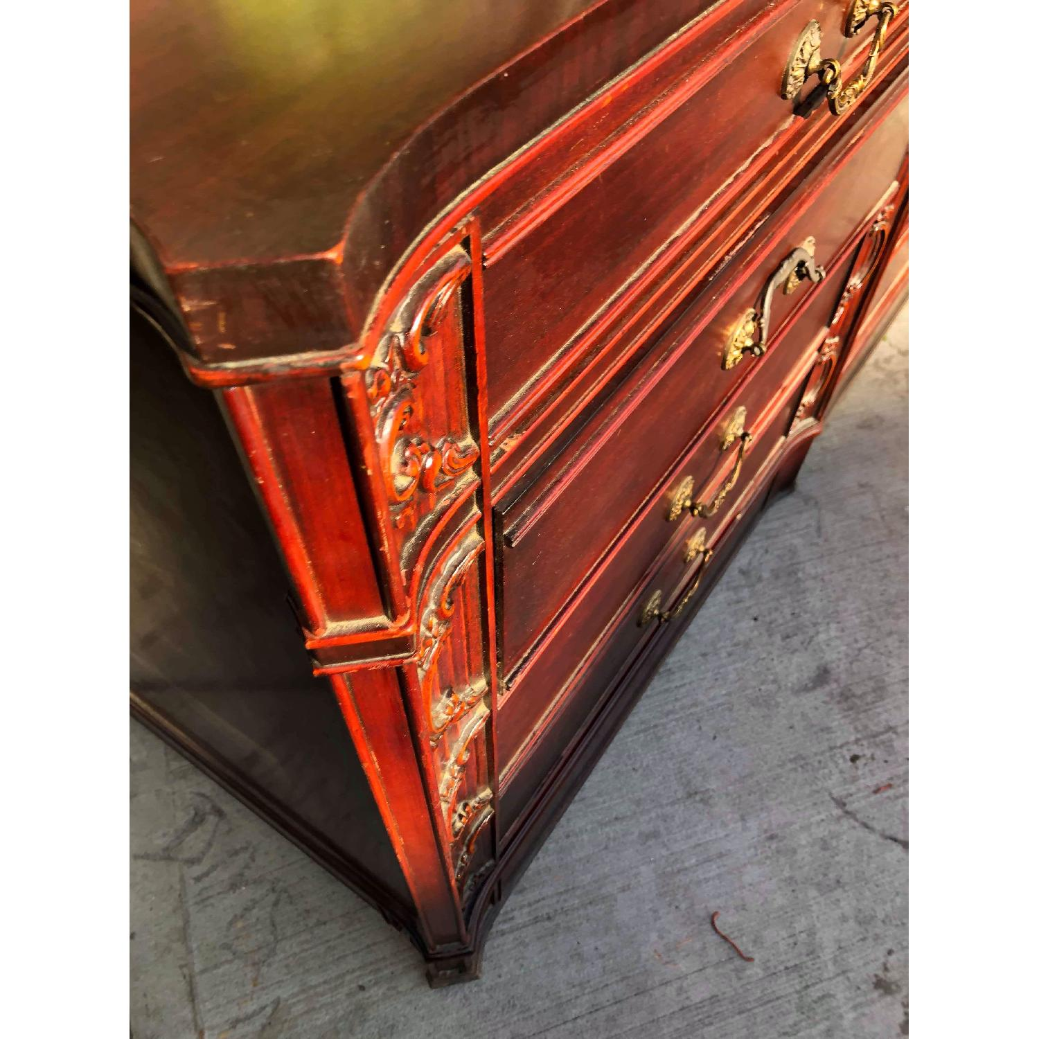 Antique 1930s Cherry Wood Leather Front 8 Drawer Dresser - image-8