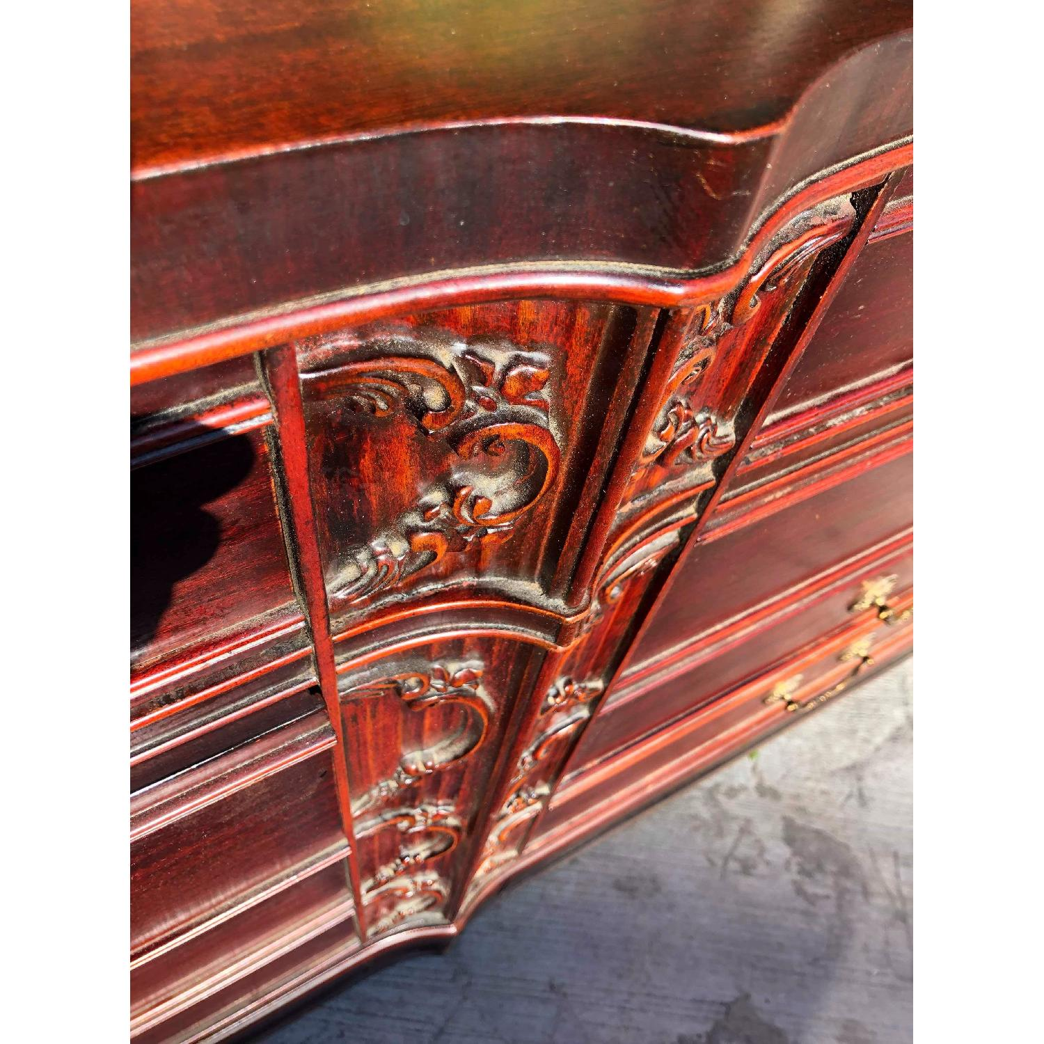 Antique 1930s Cherry Wood Leather Front 8 Drawer Dresser - image-9