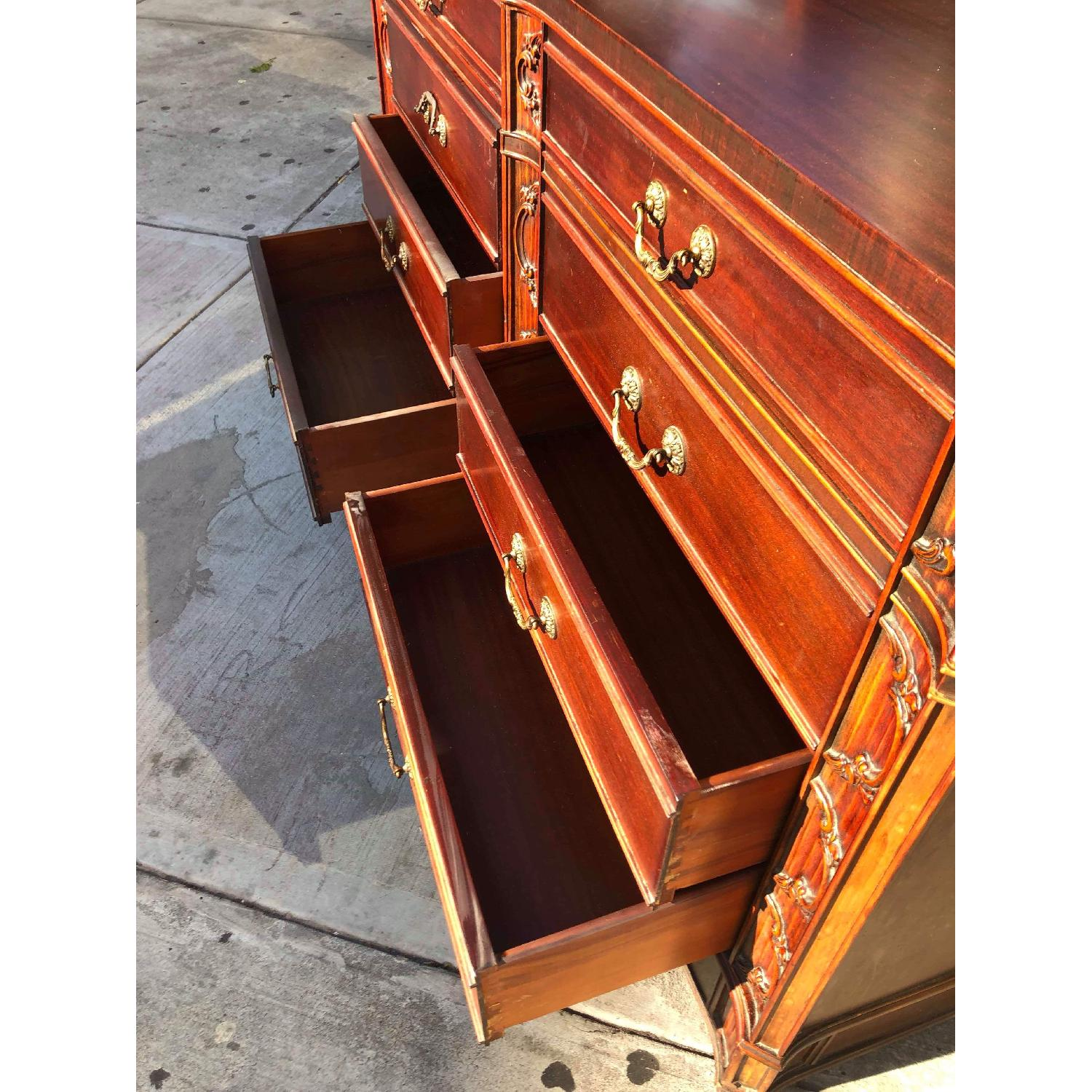 Antique 1930s Cherry Wood Leather Front 8 Drawer Dresser - image-13