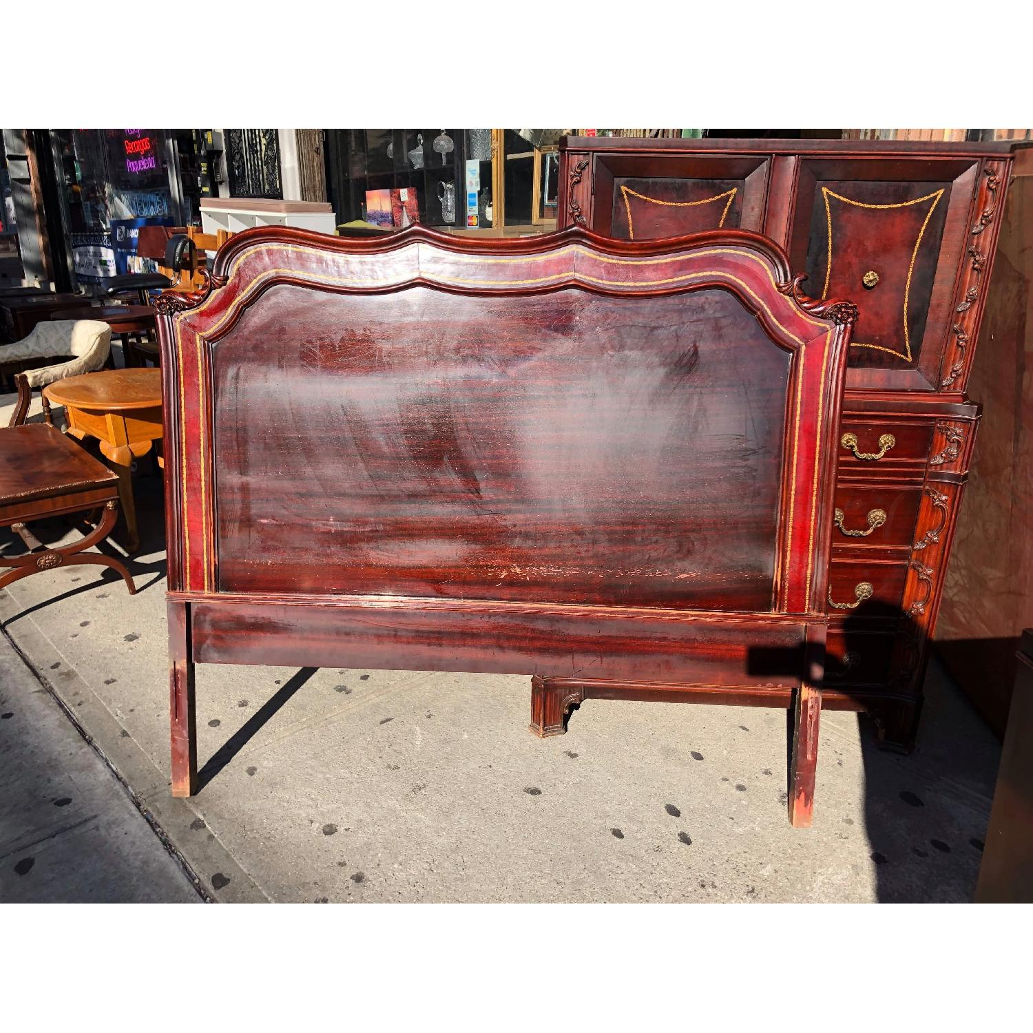 Antique 1930s Cherry Wood & Leather Full Size Headboard - image-1