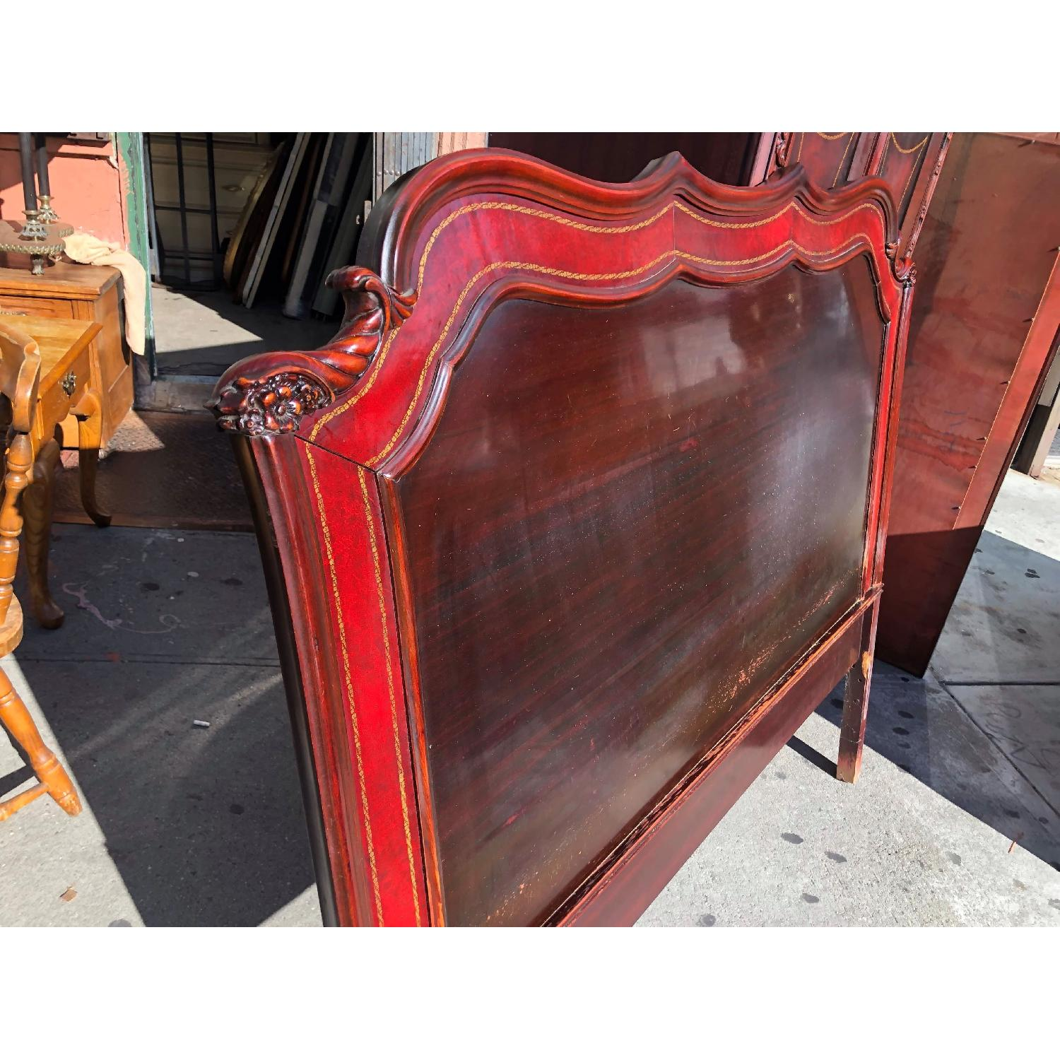 Antique 1930s Cherry Wood & Leather Full Size Headboard - image-2