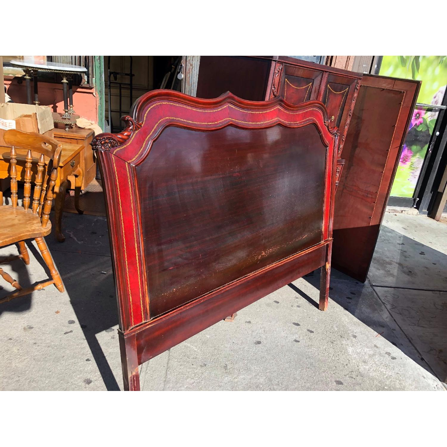 Antique 1930s Cherry Wood & Leather Full Size Headboard - image-3
