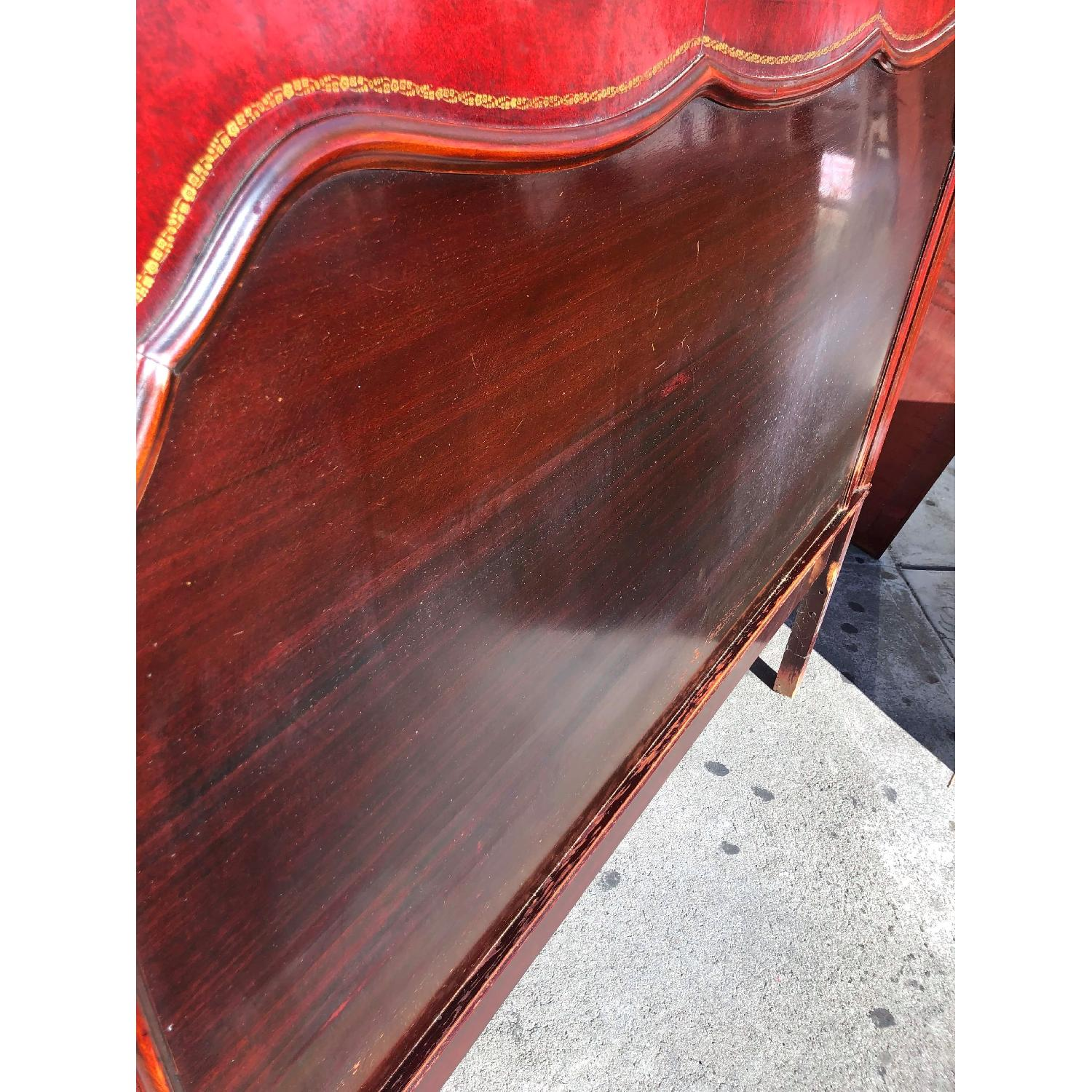 Antique 1930s Cherry Wood & Leather Full Size Headboard - image-4