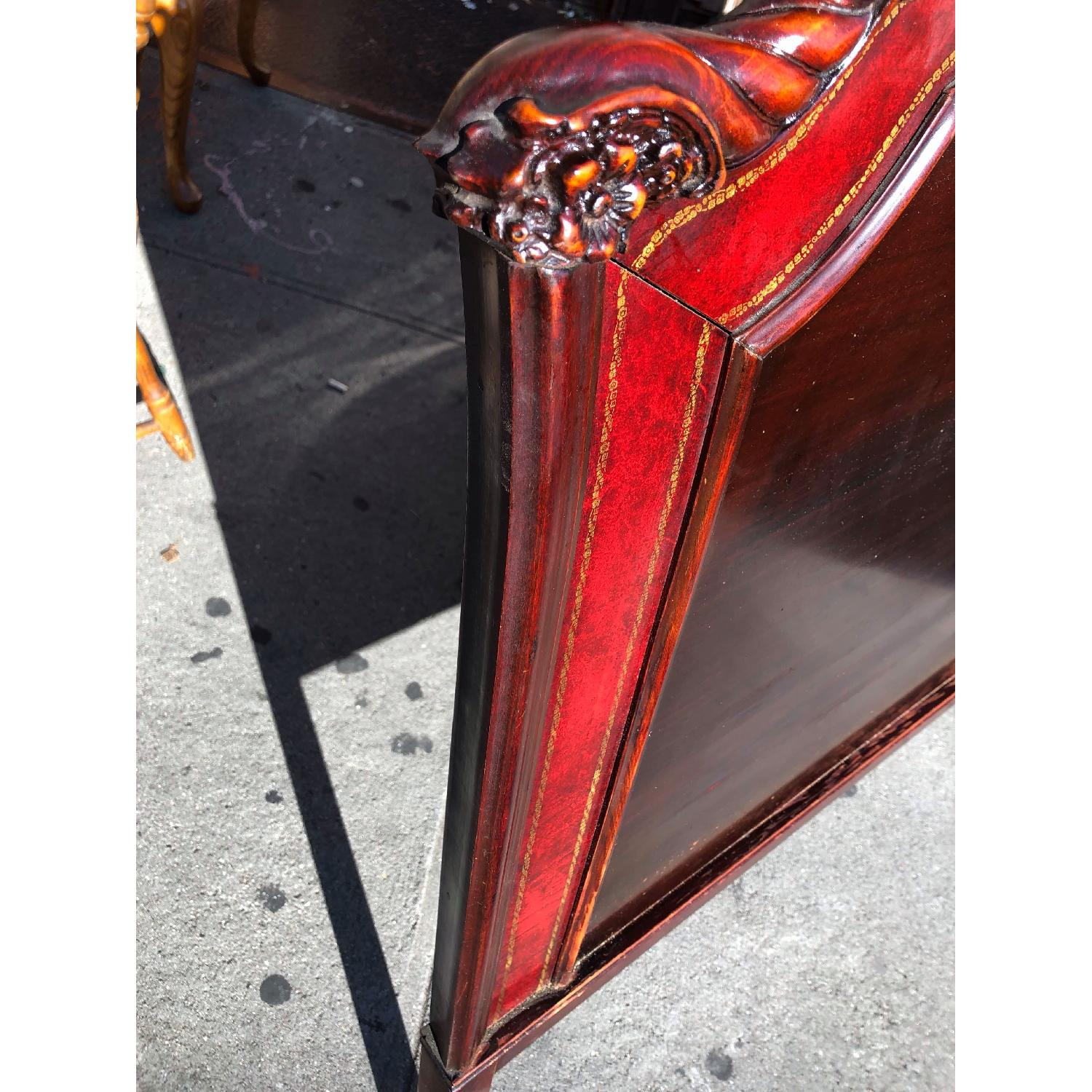 Antique 1930s Cherry Wood & Leather Full Size Headboard - image-5