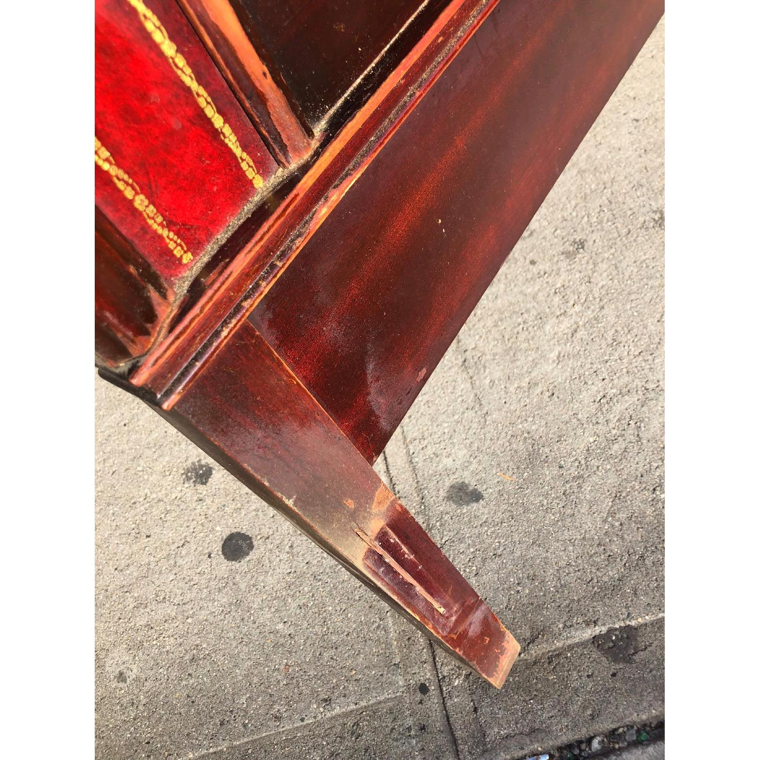 Antique 1930s Cherry Wood & Leather Full Size Headboard - image-7