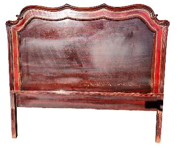 Antique 1930s Cherry Wood & Leather Full Size Headboard