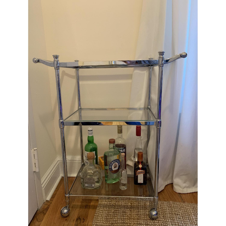 Crate & Barrel Metal & Glass Bar Cart - image-1
