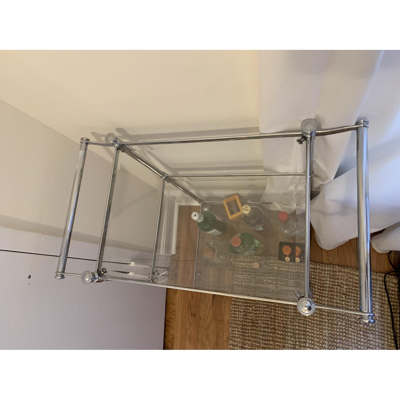 Crate & Barrel Metal & Glass Bar Cart - image-2