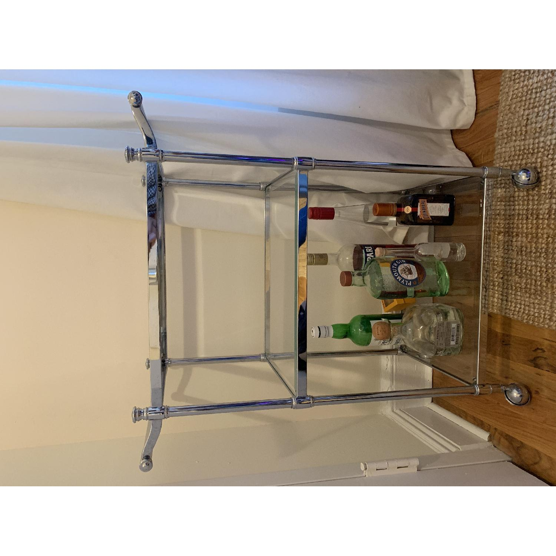 Crate & Barrel Metal & Glass Bar Cart - image-3