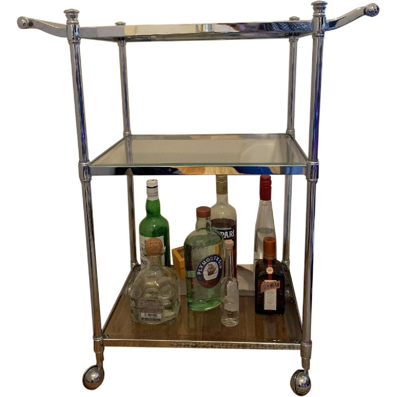 Crate & Barrel Metal & Glass Bar Cart - image-0