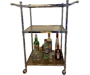 Crate & Barrel Metal & Glass Bar Cart