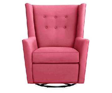 Room & Board Wren Swivel Glider in Hot Pink Sunbrella Fabric
