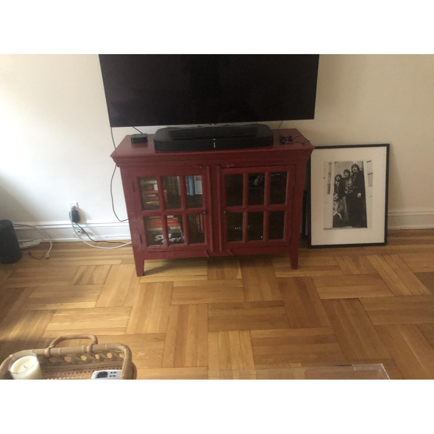 Crate & Barrel Rojo Red Media Storage Cabinet-1