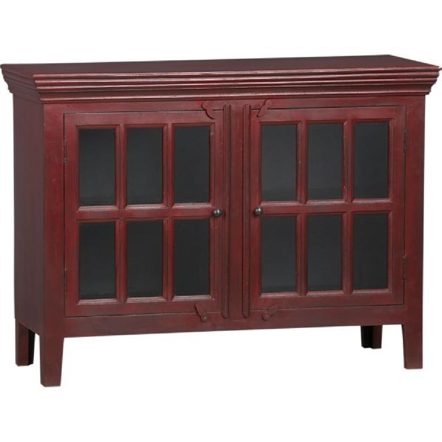 Crate & Barrel Rojo Red Media Storage Cabinet