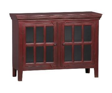 Crate & Barrel Rojo Red Media Storage Cabinet