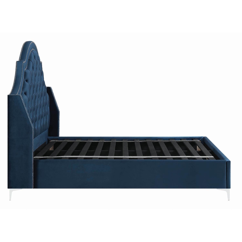 Full Bed in Blue Velvet w/ Tufted Headboard & Nailheads - image-12