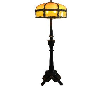 1910s Wood & Glass Floor Lamp