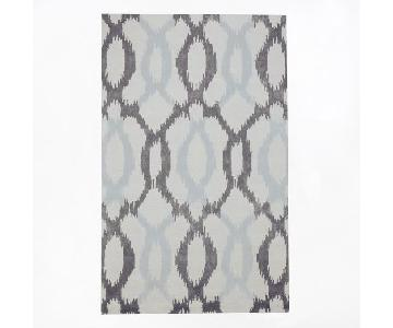 West Elm Ikat Links Wool Rug in Frost Gray/Light Blue