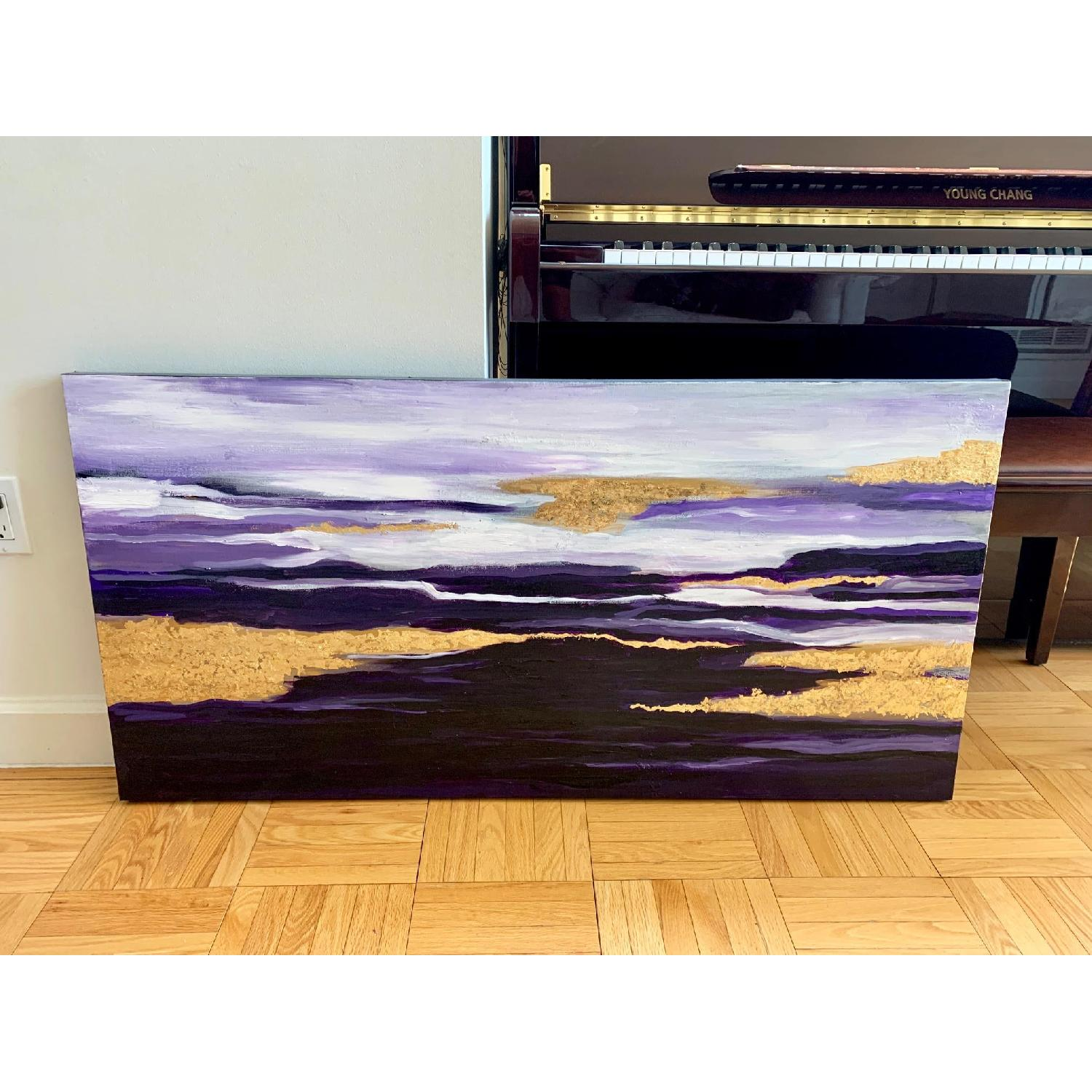 Purple Gold White Abstract Art Canvas Oil Painting - image-1