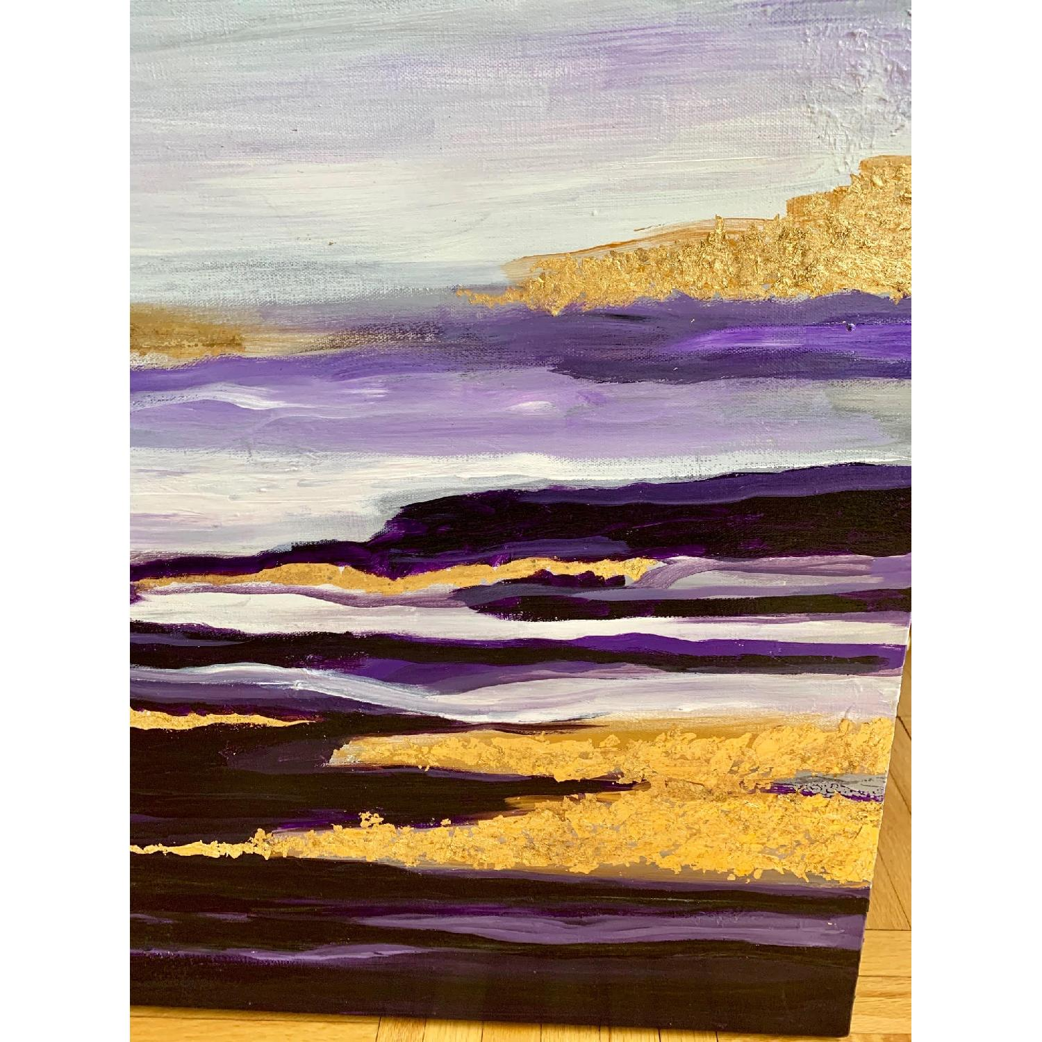 Purple Gold White Abstract Art Canvas Oil Painting - image-2