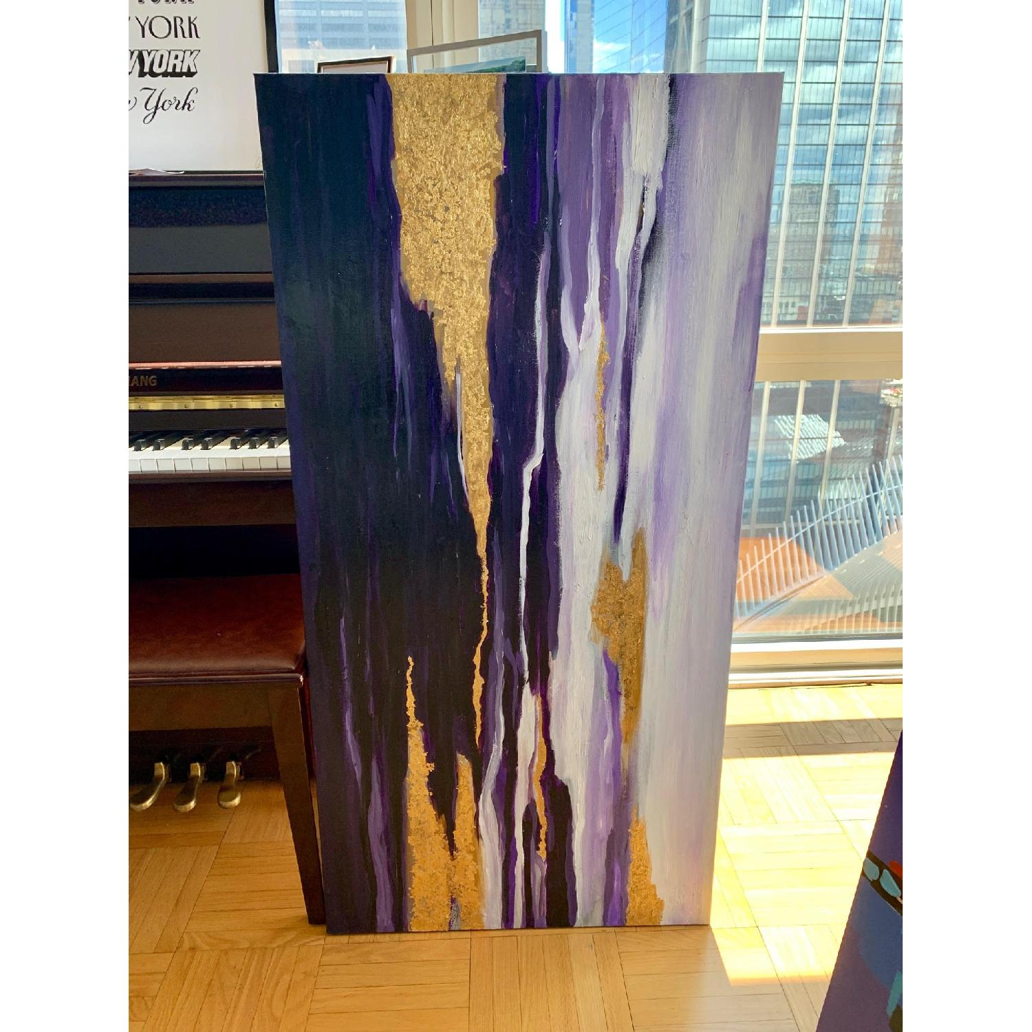 Purple Gold White Abstract Art Canvas Oil Painting - image-3