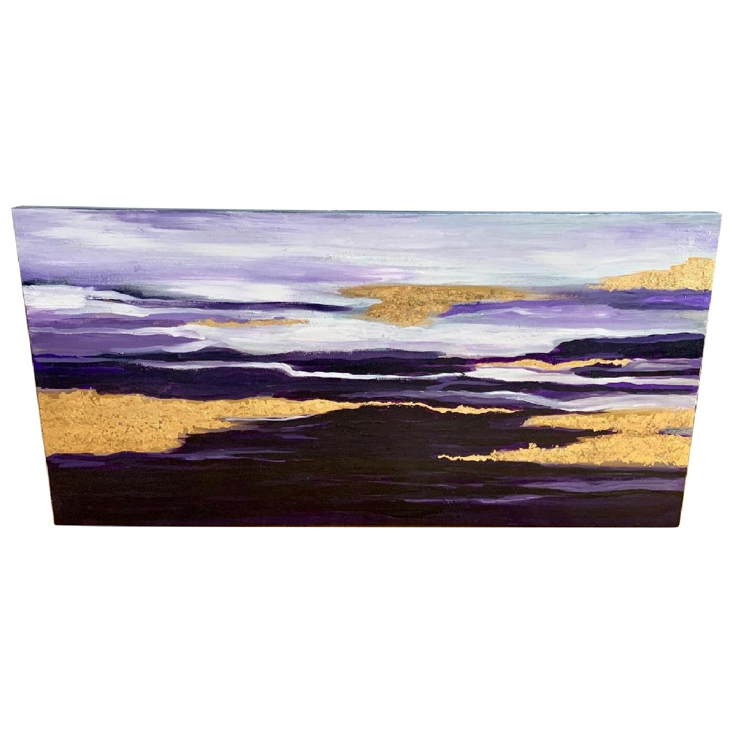 Purple Gold White Abstract Art Canvas Oil Painting - image-0