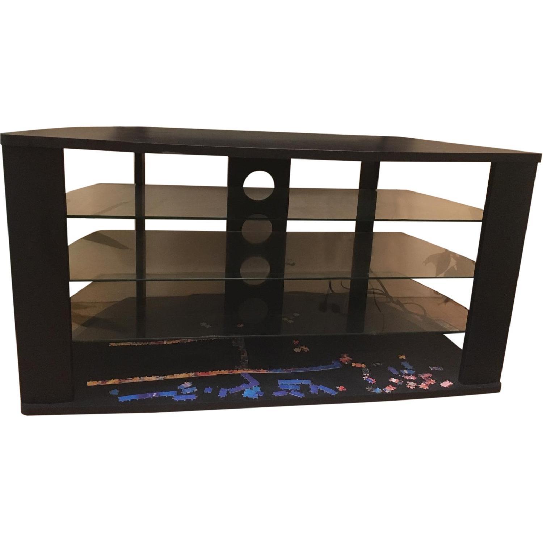 Black Tv Stand W 3 Glass Shelves Aptdeco