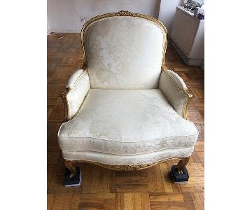 Ethan Allen Vintage Cream White French Chair