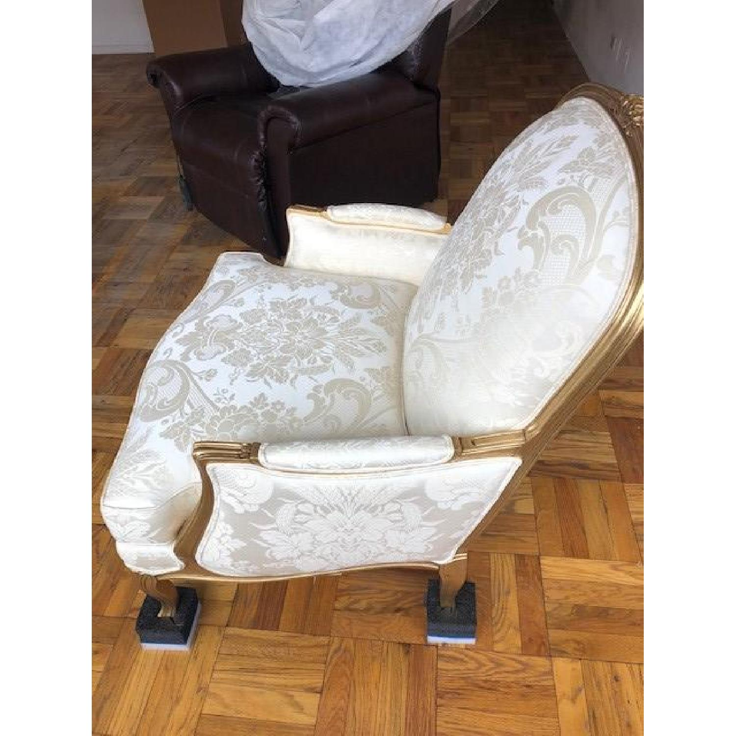 Ethan Allen Vintage Cream White French Chair - image-1