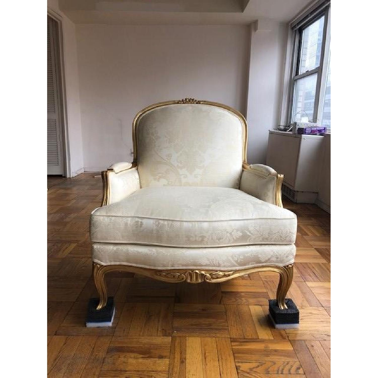 Ethan Allen Vintage Cream White French Chair - image-2