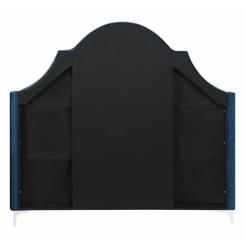 King Bed in Blue Velvet w/ Tufted Headboard & Nailheads-1