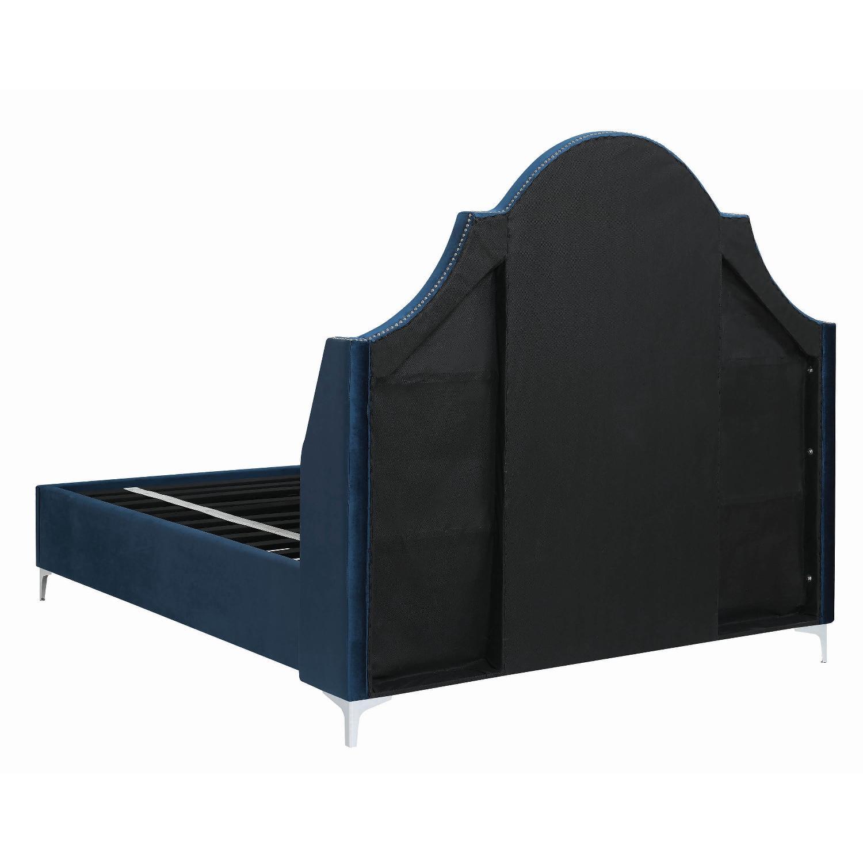 King Bed in Blue Velvet w/ Tufted Headboard & Nailheads-4