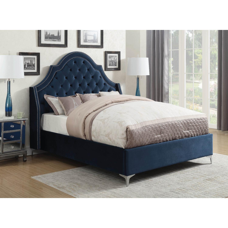 King Bed in Blue Velvet w/ Tufted Headboard & Nailheads-5