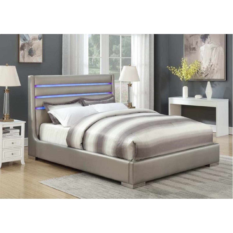 Modern King Bed in Metallic Grey w/ Headboard LED Lights-0