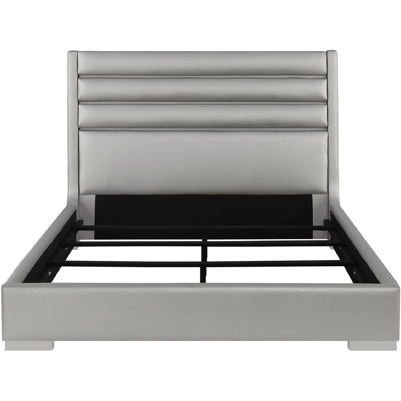 Modern King Bed in Metallic Grey w/ Headboard LED Lights-1