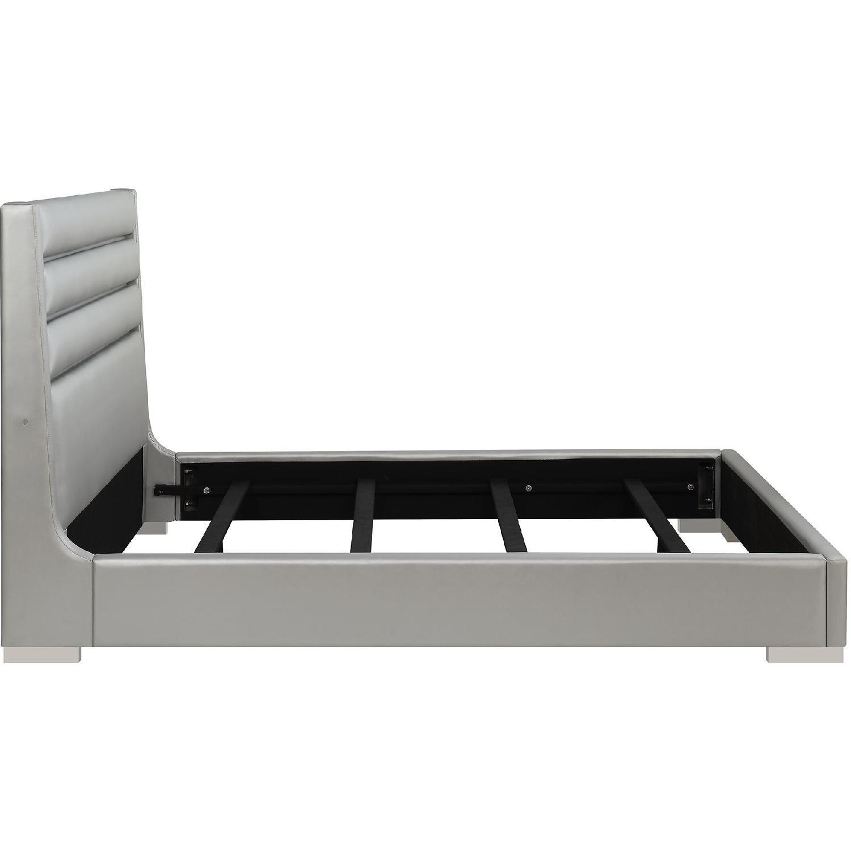 Modern King Bed in Metallic Grey w/ Headboard LED Lights-2