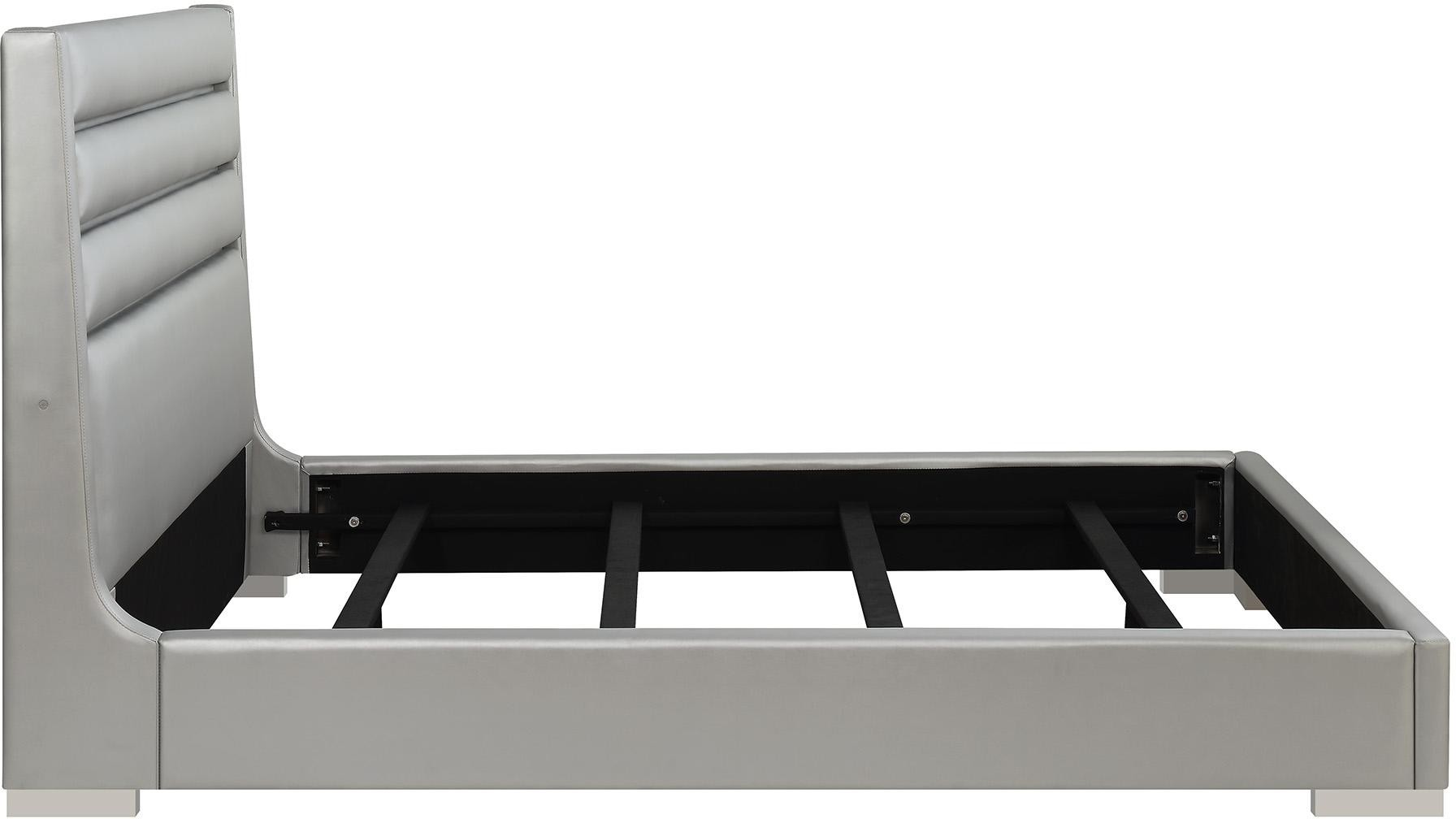 Modern King Bed in Metallic Grey w/ Headboard LED Lights