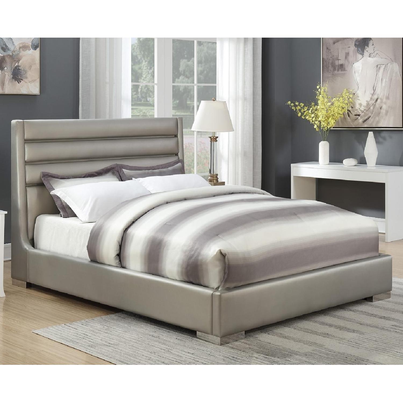 Modern King Bed in Metallic Grey w/ Headboard LED Lights-4