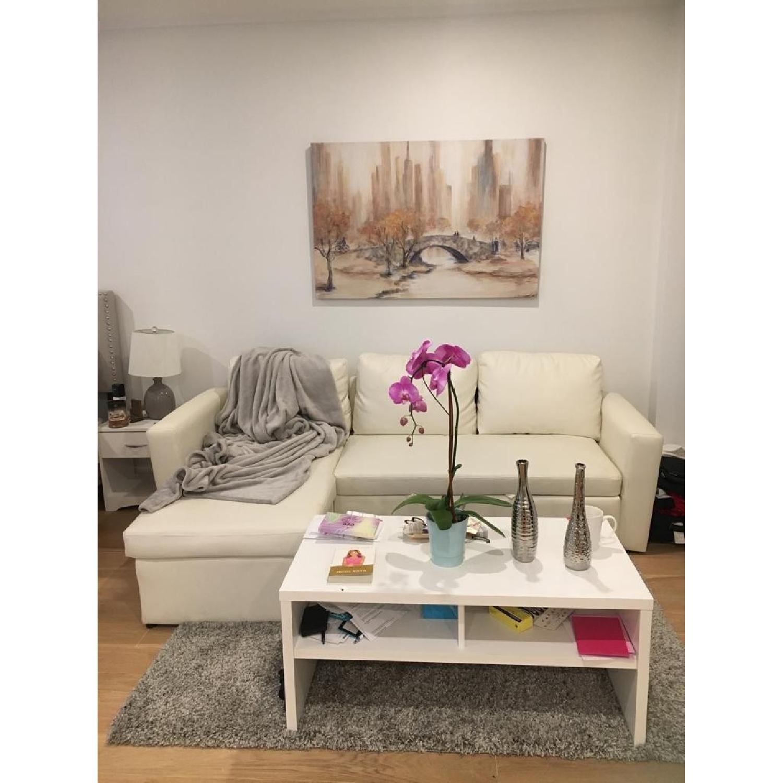 Wade Logan White Nahla Reversible Sleeper Sectional Sofa - image-1