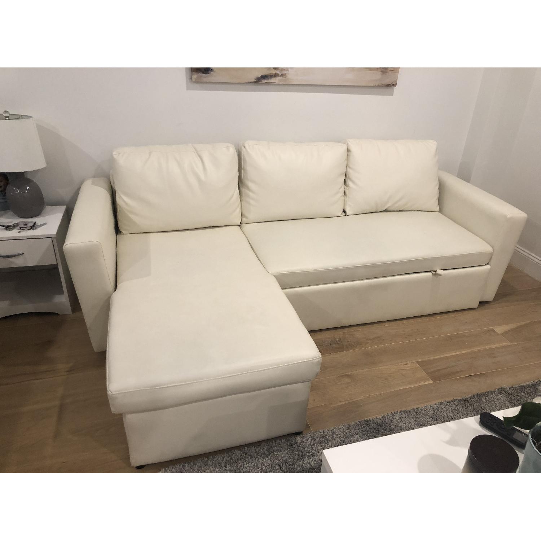 Wade Logan White Nahla Reversible Sleeper Sectional Sofa - image-2