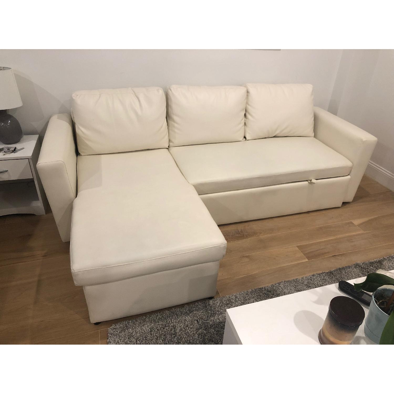 Wade Logan White Nahla Reversible Sleeper Sectional Sofa - image-3