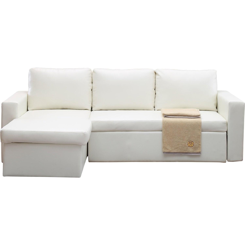 Wade Logan White Nahla Reversible Sleeper Sectional Sofa - image-0