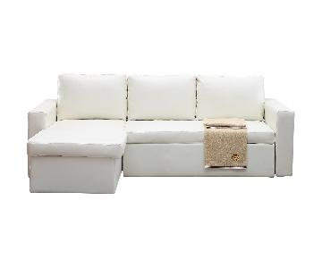 Wade Logan White Nahla Reversible Sleeper Sectional Sofa