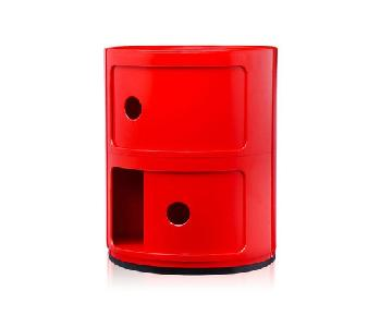 Kartell Componibili Red Round 2 Drawer Tower