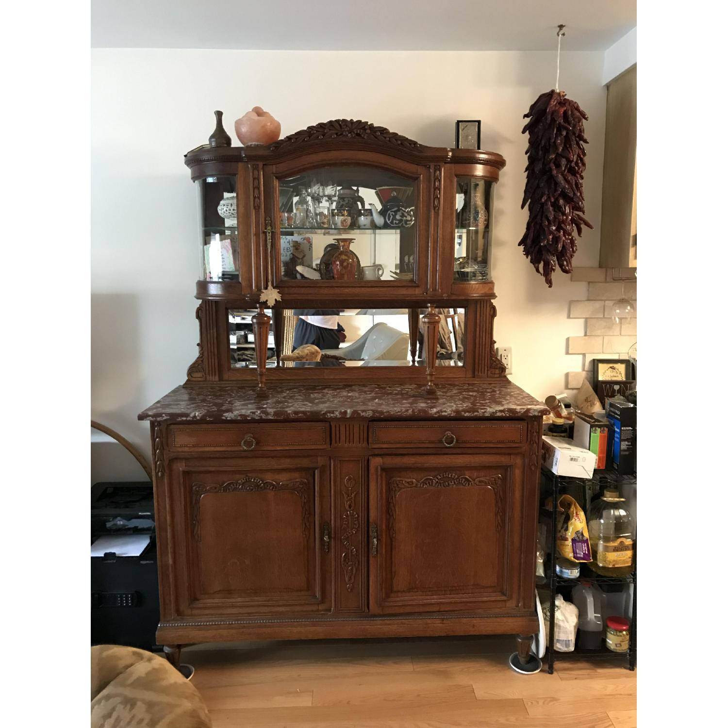 French Antique Handmade Buffet/China Cabinet - image-1