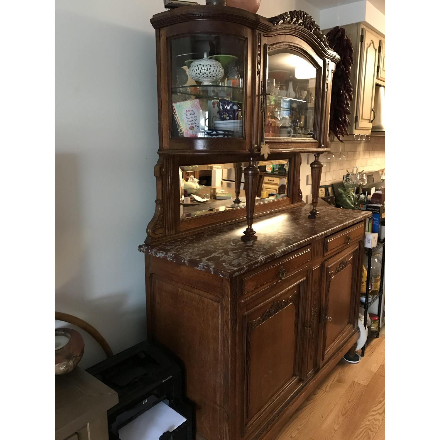 French Antique Handmade Buffet/China Cabinet - image-2