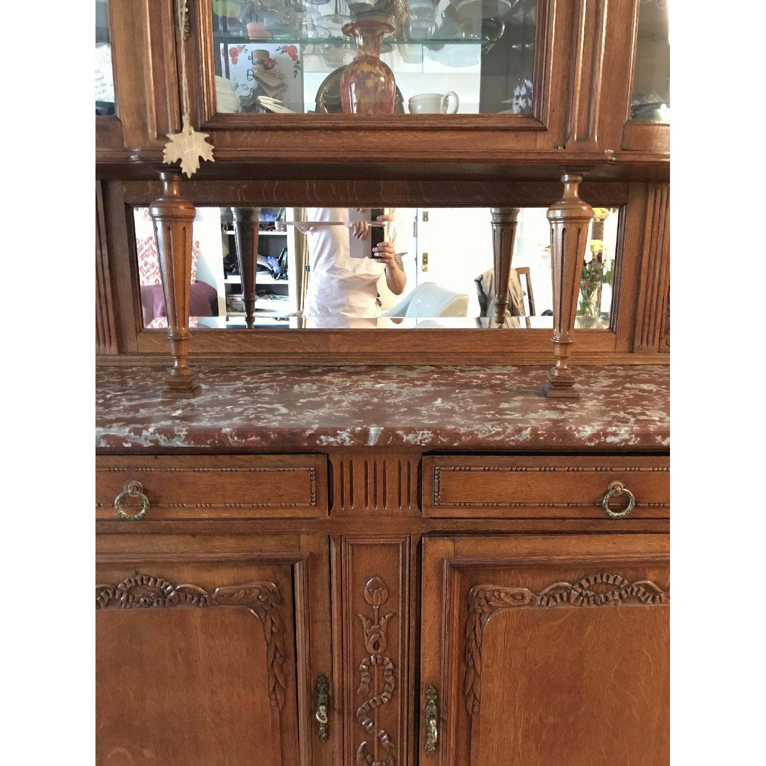 French Antique Handmade Buffet/China Cabinet - image-5