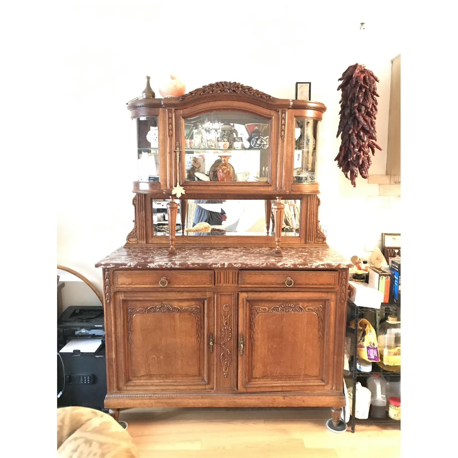 French Antique Handmade Buffet/China Cabinet - image-7